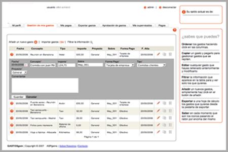 Software de gastos de viaje